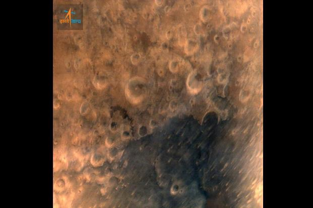 The first image of Mars despatched by India's Mars Orbiter Mission on Thursday. Photo: Isro