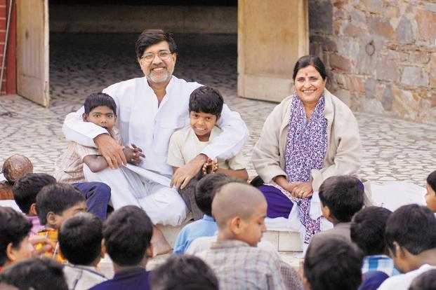 Image result for kailash satyarthi with children