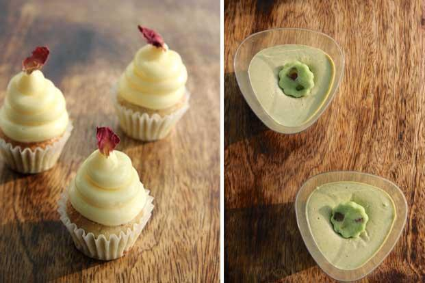 cook out gulkand cupcakes and pistachio panna cotta