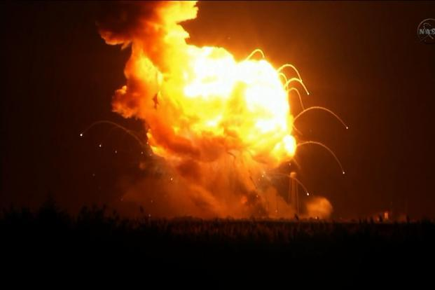 This still image from Nasa video shows an Orbital Sciences Corporation unmanned spacecraft exploding six seconds after launch. Photo: AFP