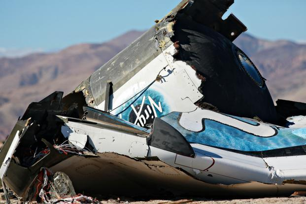 The NTSB is leading the investigation into Friday's crash of SpaceShipTwo, which was undergoing its first powered test flight since January when it crashed, spreading debris over an 8 km swath of the Mojave Desert north of Los Angeles. Photo: AFP