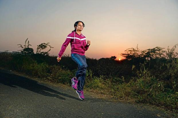 Dutee Chand goes for an evening run at the railway training institute in Bhusaval. Photo: Abhijit Bhatlekar/Mint
