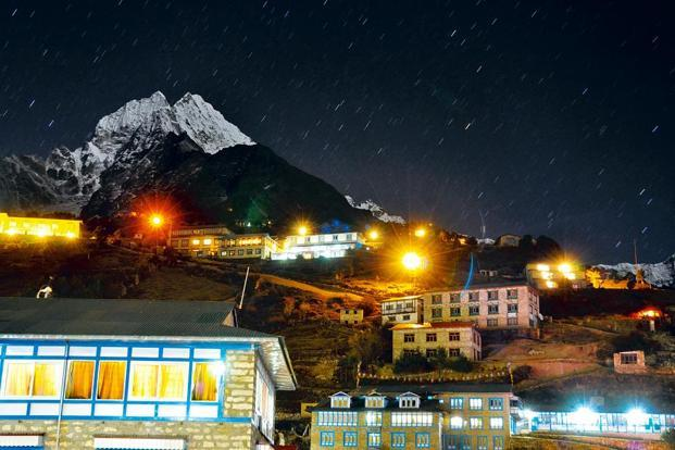 Namche Bazaar, with the peak of Thamserku in the background.