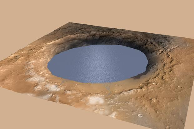 This Nasa handout illustration depicts a lake of water partially filling Mars' Gale Crater, receiving runoff from snow melting on the crater's northern rim. A large layered mountain, Mount Sharp, now stands in the middle of Gale Crater. Photo: AFP/Nasa