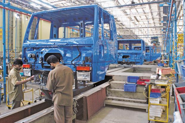 Workers at an Ashok Leyland factory in Hosur. Sales of medium and heavy duty trucks have been rising since June, after dropping for more than two years. Photo: Bloomberg