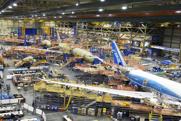 Boeing has used more carbon composites and plastics than before in the 787, the company says on its website. The airframe of the 787 has 50% carbon fibre-reinforced plastic and other composites. Photo: Bloomerg