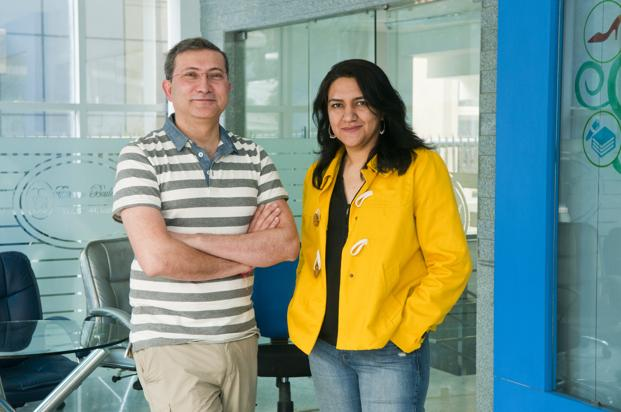 ShopClues founders Sanjay Sethi (left) and Radhika Aggarwal. Analysts say the investment Tiger Global Management may allow for the possibility of an eventual merger of ShopClues with Flipkart. Photo: Sneha Srivastava/Mint