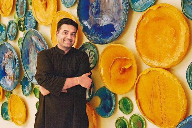 Ceramicist Rahul Kumar with his installation 'circle uncircled....'