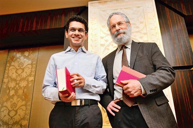 Murty (left) and Pollock at the launch of the MCLI in New Delhi on 15 January. Photo: Priyanka Parashar/Mint