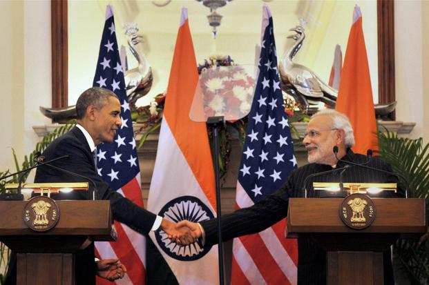 Prime Minister Narendra Modi with US President Barack Obama. Obama stressed the importance of joint Indo-US efforts to achieve a stronger global climate deal in Paris later this year. Photo: