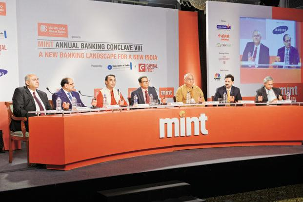 (Left to right) Vishwavir Ahuja, MD and CEO of RBL Bank; Romesh Sobti, MD and CEO of IndusInd Bank; Vikram Akula, chairperson of Vaya Finserve; Tamal Bandyopadhyay, consulting editor, Mint; Vijay Mahajan, chairman of Basix Group; V. Vaidyanathan, chairman and MD of Capital First, and Alok Prasad, CEO of MFIN, at the Mint Annual Banking Conclave 2015, in Mumbai. Photo: Abhijit Bhatlekar/Mint