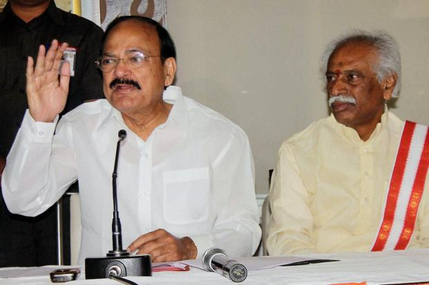Union minister M. Venkaiah Naidu addressing the press at Hyderabad on Sunday. Photo: PTI