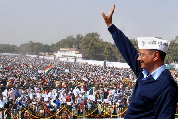 In his speech, Arvind Kejriwal invoked God at least six times. Photo: PTI