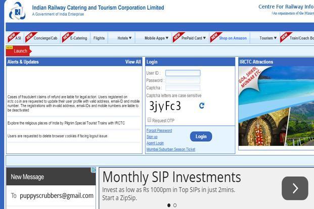A screen grab of IRCTC website. (A screen grab of IRCTC website.)