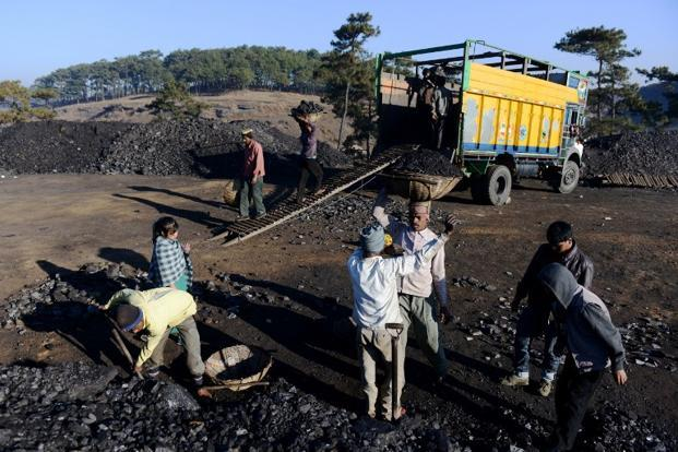 File photo shows workers at a coal mine in Meghalaya. Photo: AFP (AFP)
