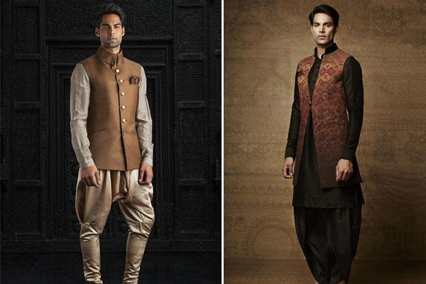 model wearing a raghavendra rathore design left and another