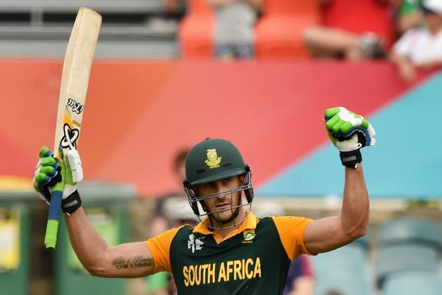 South Africa's Faf du Plessis celebrates his century against Ireland on Tuesday. Photo: AFP (AFP)