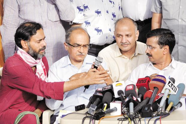 (From left) File photo of AAP leaders Arvind Kejriwal, Prashant Bhushan, Manish Sisodia and Yogendra Yadav addressing the media. Photo: Hindustan Times