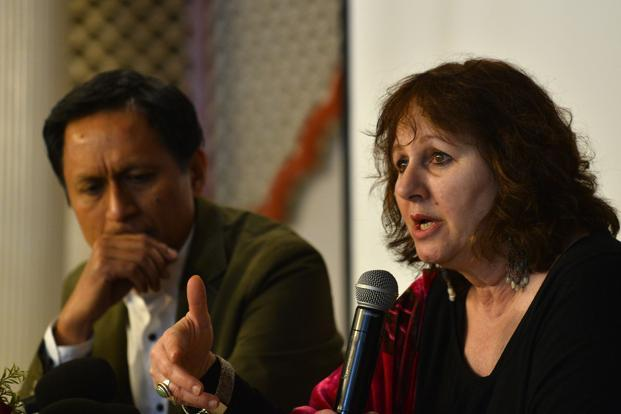 British filmmaker Leslee Udwin (Right) during a during a press conference. Photo: AFP (AFP)