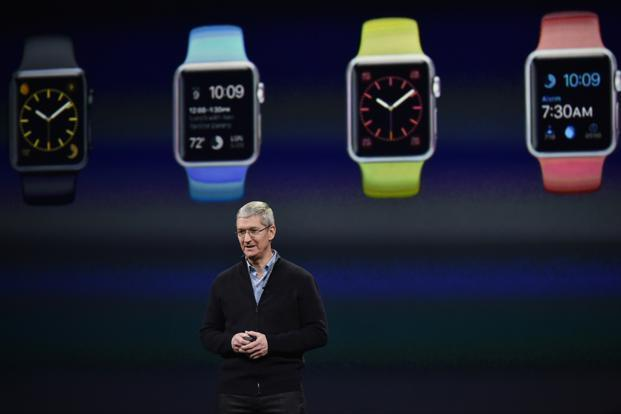 In the presentation, Tim Cook described the watch handling many functions currently associated with the iPhone, which tethers wirelessly to the watch and connects it to the Internet. Photo: Bloomberg (Bloomberg)