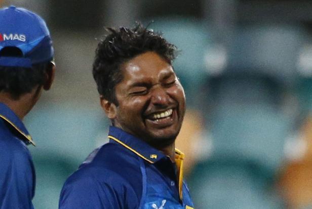 Kumar Sangakkara has a light moment after winning the match against Scotland in Hobart on Wednesday. Photo: David Gray/Reuters  (David Gray/Reuters)