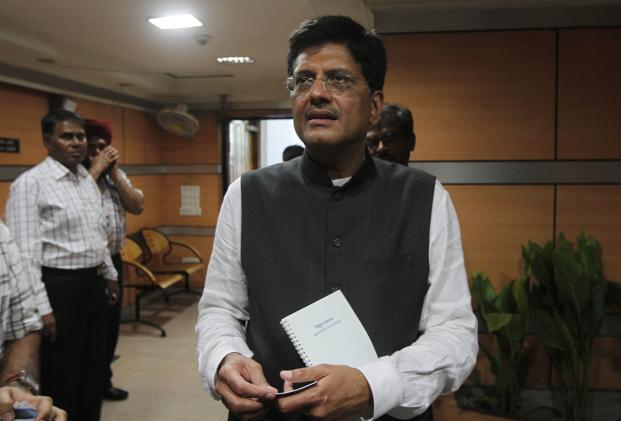 Energy minister Piyush Goyal says the government is looking at providing renewable energy at less than <span class='WebRupee'>Rs.</span>4.50 a unit. Photo: Hindustan Times