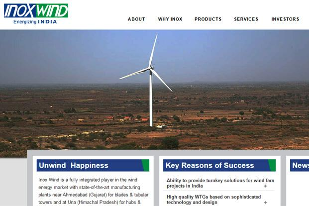 A file photo of Inox Wind website
