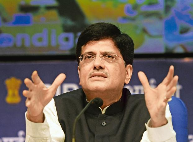 Power minister Piyush Goyal said the government plans to scale up the contribution of clean power. Photo: Hindustan Times