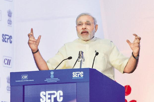 Prime Minister Modi at the Global Exhibition on Services in New Delhi on Thursday. Photo: PTI