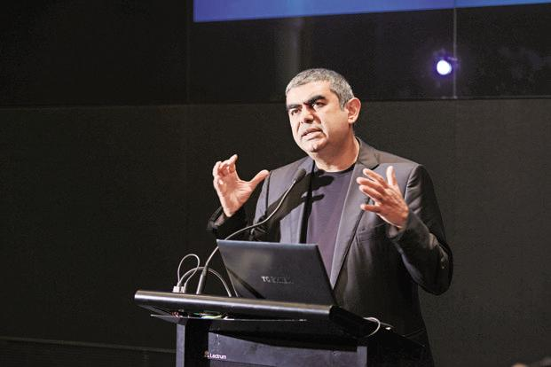 Vishal Sikka, the first non-founder CEO of India's second biggest software services company, has set an ambitious target of more than doubling Infosys's sales to $20 billion by 2020.  Photo: Hemant Mishra/Mint
