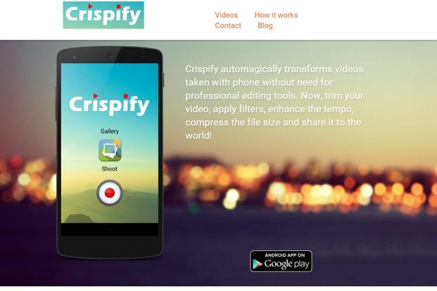 The first variant of the Crispify Android app compressed videos by about 33%, but users had to upload the video to its servers first, where the compression algorithm would be run.