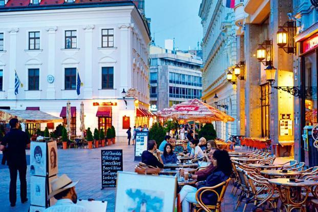 Cafes in downtown Bratislava. Photographs from Thinkstock