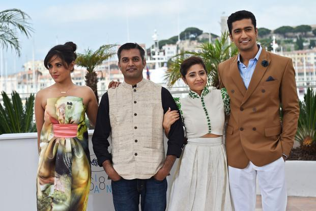 (From left) Actress Richa Chadda, director Neeraj Ghaywan, actress Shweta Tripathi and actor Vicky Kaushal pose during a photocall for the film 'Masaan' at the 68th Cannes Film Festival on 19 May 2015. Photo: AFP