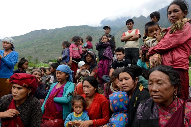 A file photo of Nepalese villagers including in the earthquake affected village of Sirdibas in Gorkha District. Photo: AFP