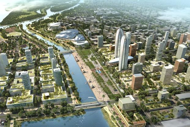 Andhra pradesh invites singapore japan to help build new capital an artists impression of the capital the seed capital area as it is called malvernweather Choice Image
