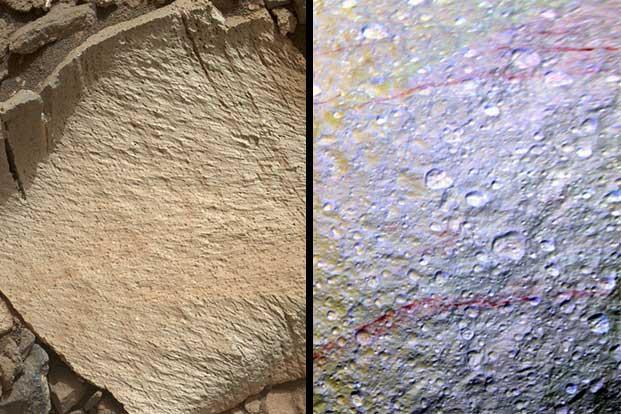 Elk, the rocky surface found on Mars (left), and red streaks on Saturn's moon Tethys' surface.