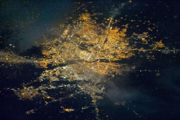 A photo of the city of Delhi, taken from the International Space Station using a Nikon D3S camera. The exact coordinates of this picture are 28.7° N, 77.2° E