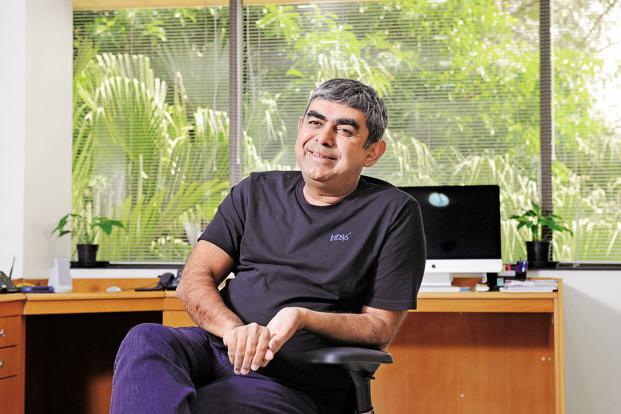 Infosys CEO Vishal Sikka has outlined an ambitious goal of 30% operating margin by 2020, primarily by automating many services. Photo: Hemant Mishra/Mint