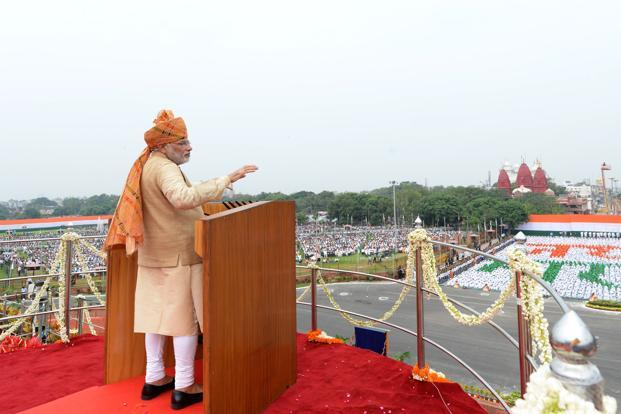 Narendra Modi's ID speech was aimed largely at Bharat, and addressed issues related to the ongoing agrarian crisis, and improving the status of Dalits and women, specifically by helping them start-up businesses. Photo: AFP