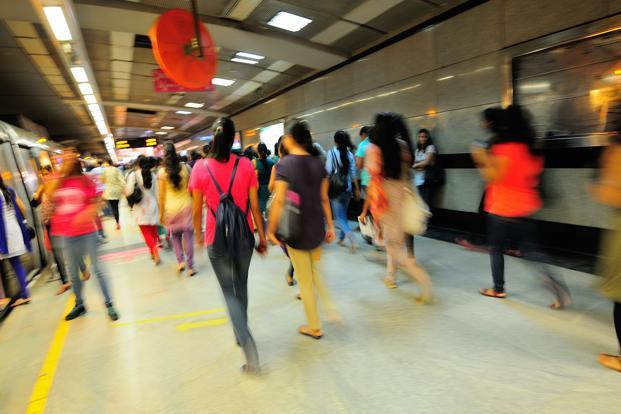 A file photo of women at a Delhi metro station. Photo: Priyanka Parashar/Mint