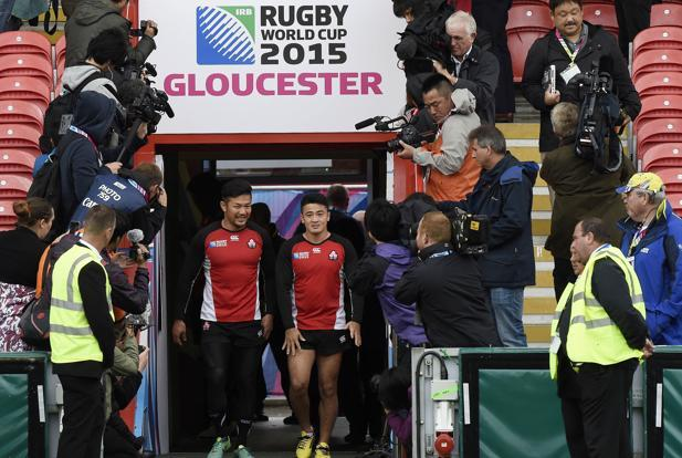 Players of the Japan Rugby team at the Kingsholm Stadium, Gloucester. Photo: Reuters
