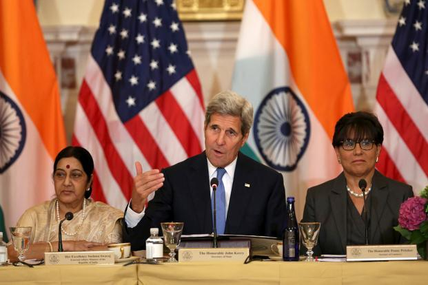 John Kerry participates with Sushma Swaraj (L) and US commerce secretary Penny Pritzker (R) at the US-India Strategic & Commercial Dialogue in Washington on Tuesday. REUTERS