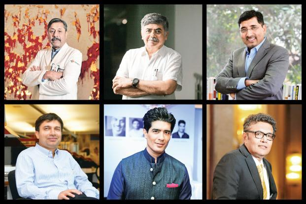 (From top left in clockwise order) Naresh Trehan, Bhaskar Bhat, Vivek Gambhir, Varun Berry, Manish Malhotra and Saugata Gupta.