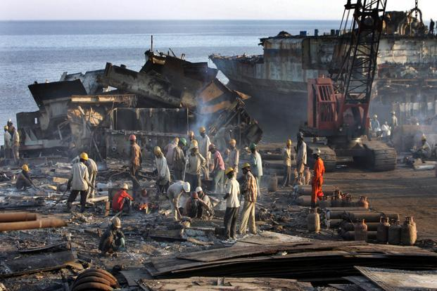 Two ship recycling yards located in Alang, Gujarat, have won compliance status with the Hong Kong International Convention for the Safe and Environmentally Sound Recycling of Ships, adopted by the International Maritime Organization in 2009. Photo: Hindustan Times
