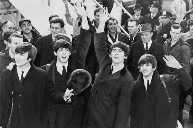 The Beatles arrive at John F. Kennedy International Airport, 7 February 1964. Photo: United States Library of Congress Prints and Photographs division/Wikimedia Commons