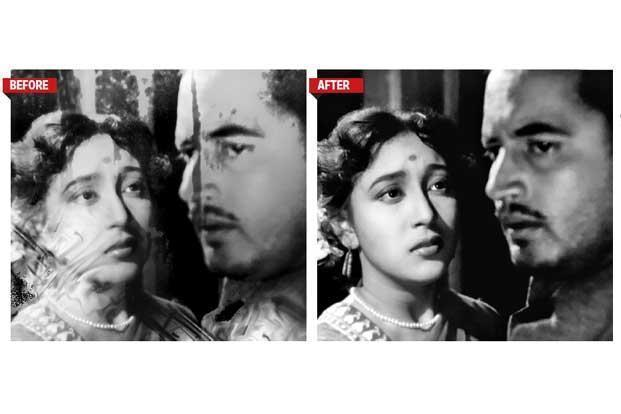 More than 200,000 frames of 'Pyaasa' were cleared of scratches, pinholes, flickering, green patches and thick lines. Picture courtesy Ultra