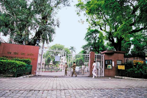 A file photo of the UPSC building in Delhi. Officers say they were empanelled in IAS as they performed better in the Civil Service Exams than their counterparts in the other services. Photo: Priyanka Parashar/Mint