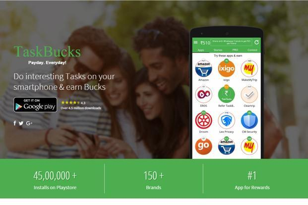Taskbucks plans to cross 50 million downloads in the next two years, engaging millions of users with a variety of tasks they can perform to earn supplemental income ranging from <span class='WebRupee'>Rs.</span>10 to <span class='WebRupee'>Rs.</span>100.