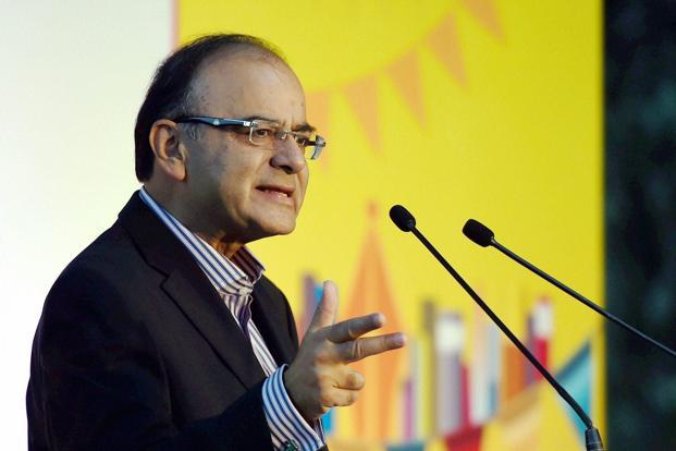 Finance minister Arun Jaitley addressing during the Times Litfest in New Delhi on Saturday. Photo: PTI