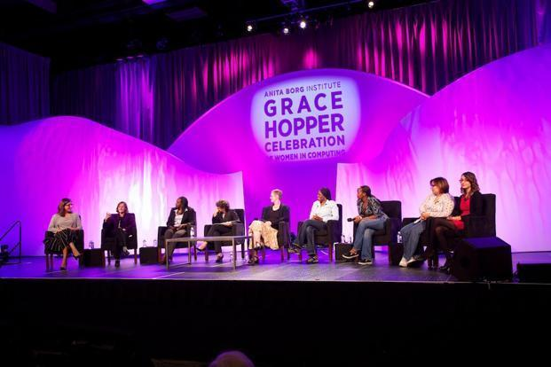 A file photo of an earlier Grace Hopper conference. In the conference held this year in Bengaluru, nearly 2,300 women technologists and managers with rich and diverse experience hobnobbed with each other.